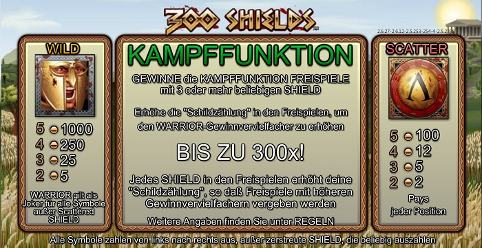 300 Shields Kampffunktion